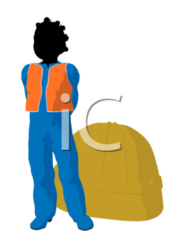Royalty Free Clipart Image of a Girl Beside a Hardhat