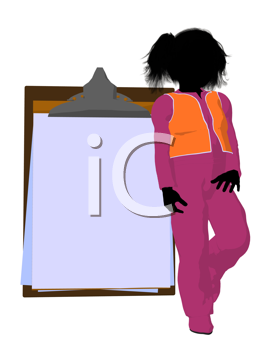 Royalty Free Clipart Image of a Girl and a Clipboard