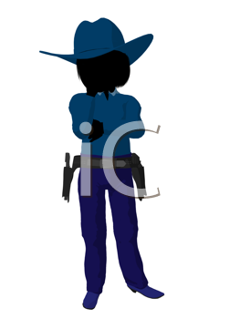 Royalty Free Clipart Image of a Little Cowgirl