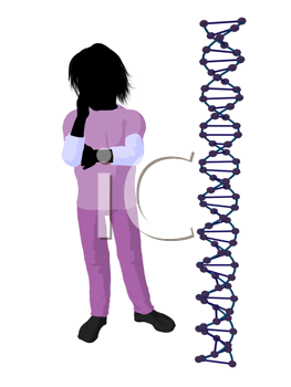 Royalty Free Clipart Image of a Boy Doctor Next to a DNA Strand