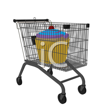 Royalty Free Clipart Image of a Cupcake in a Shopping Cart