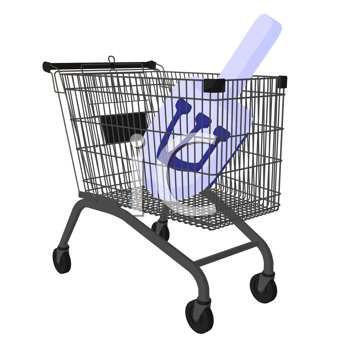 Royalty Free Clipart Image of a Dreidel in a Shopping Cart