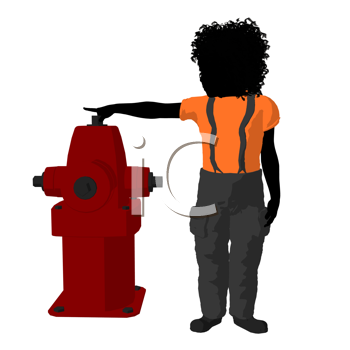Royalty Free Clipart Image of a Boy at a Hydrant