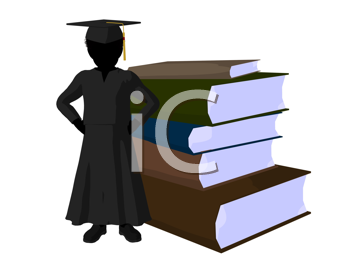 Royalty Free Clipart Image of a Graduate With a Pile of Books
