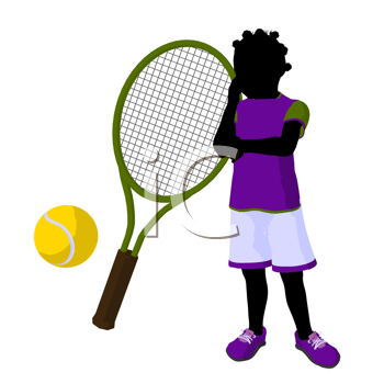 Royalty Free Clipart Image of a Girl, Tennis Racket and Ball