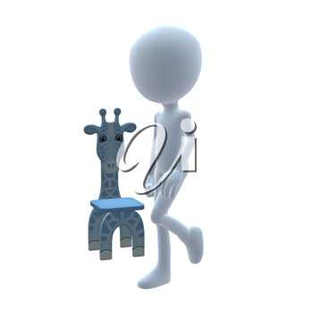 Royalty Free Clipart Image of a 3D Boy With a Giraffe Chair