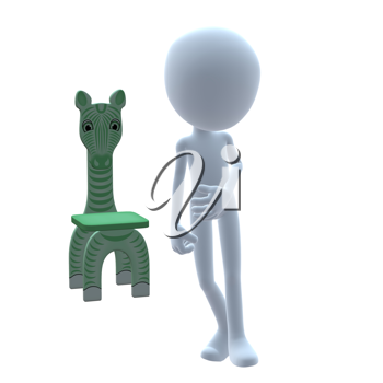 Royalty Free Clipart Image of a 3D Boy With a Zebra Chair