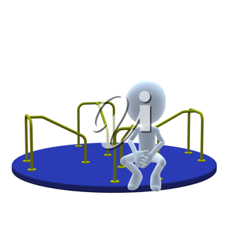 Royalty Free Clipart Image of a 3D Guy on a Merry-Go-Round