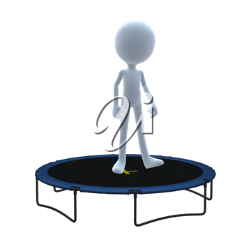 Royalty Free Clipart Image of a 3D Guy on a Trampoline
