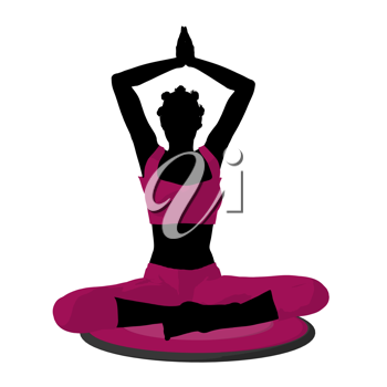 African american female yoga art illustration silhouette on a white background