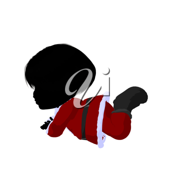 Royalty Free Clipart Image of a Little Girl in a Santa Suit