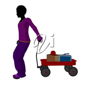 Royalty Free Clipart Image of a Boy With Schoolbooks in a Wagon