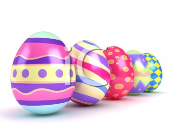 3D Illustration of Colorful Easter Eggs