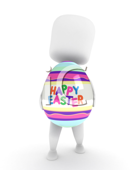 3D Illustration of a Man Carrying a Large Easter Egg