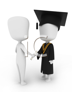 3D Illustration of a Man Giving a Graduate His Diploma