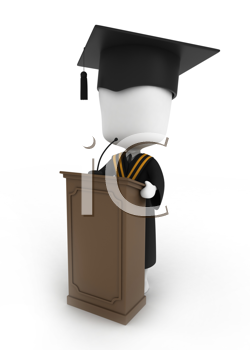 3D Illustration of a Graduate Giving a Graduation Speech