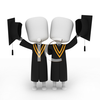 3D Illustration of Graduates Posing Next to Each Other
