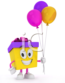 3D Illustration of a Gift Character Carrying Balloons
