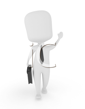 3D Illustration of a Businessman Walking and Waving