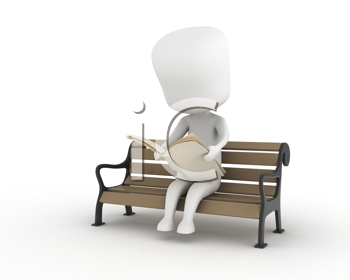 3D Illustration of a Man Reading a Newspaper