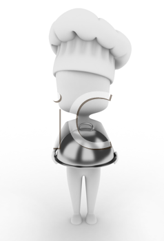 3D Illustration of a Chef Holding a Serving Tray