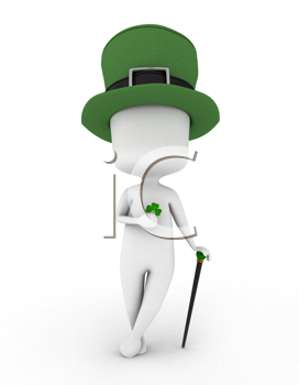 3D Illustration of a Man Wearing a Leprechaun's Hat and Holding a Shamrock