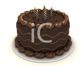 3D Illustration of a Chocolate Cake with Candles on Top