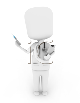 3D Illustration of a Nurse Holding a Syringe and Medical Chart
