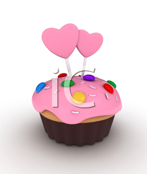 Illustration of a Cupcake Topped with Candies, Sprinkles, and Frosted Hearts on Sticks