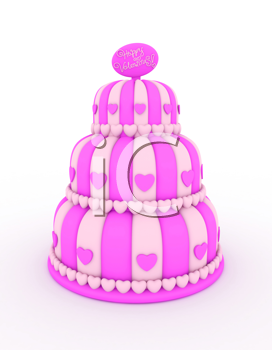 3D Illustration of a Three-Layered Cake with Valentine Greetings at the Top