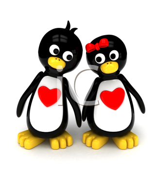 3D Illustration of a Penguin Couple Holding Hands While Walking Side by Side