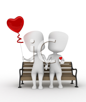 3D Illustration of a Couple Sitting on a Bench with Balloon and Candy