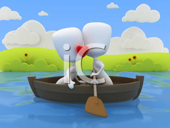 3D Illustration of a Couple Kissing on a Boat