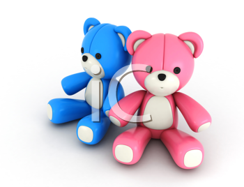 3D Illustration of His and Hers Bear Couple in Pink and Blue Colors