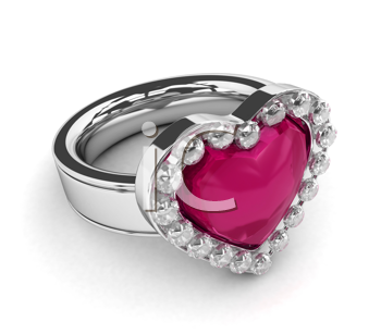 3D Illustration of a Diamond Encrusted Ring with a Heart-shaped Ruby on Top