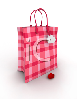 3D Illustration of a Cute Paper Bag with a Heart-shaped Tag