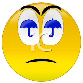 3d rendering  sad smiley because weather is bad