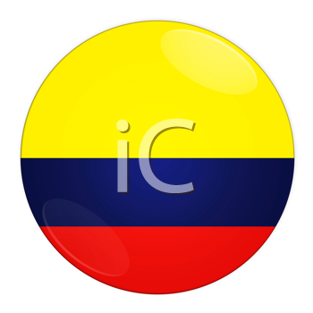 Abstract illustration: button with flag from Colombia country