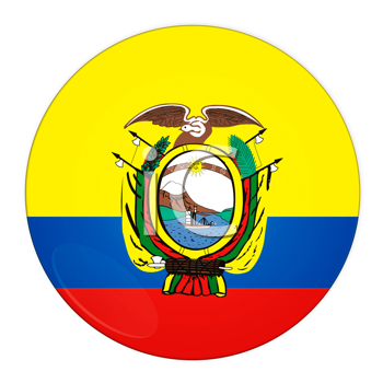 Abstract illustration: button with flag from Ecuador country