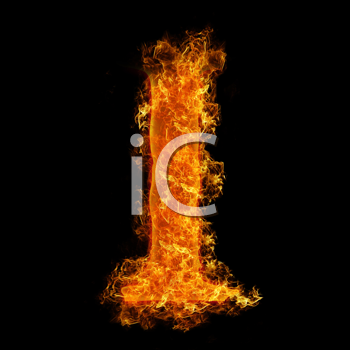 Fire letter I on a black background