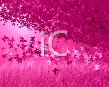 Abstract forest background with butterfly's