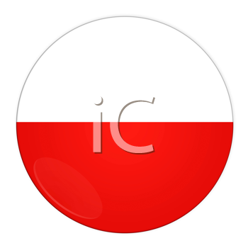 Abstract illustration: button with flag from Poland country