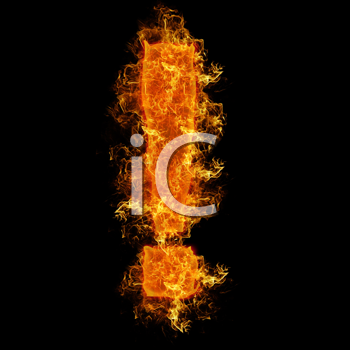 Fire sign exclamation mark on a black background