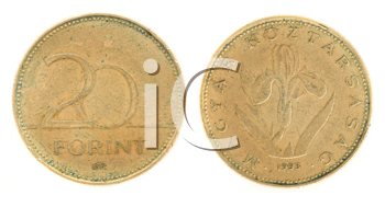 Royalty Free Clipart Image of Twenty Forint - Hungarian Currency