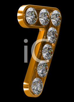 Royalty Free Clipart Image of a Golden Number Seven Incrusted With Diamonds