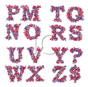 Abstract 3D font M-Z letters and symbols isolated over white