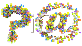 Royalty Free Clipart Image of Cubed Font