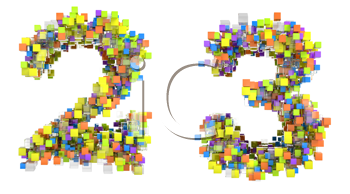 Royalty Free Clipart Image of Cubed Numerals