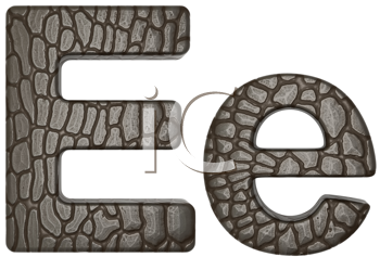 Royalty Free Clipart Image of Alligator Skin Font E Lowercase and Capital Letters