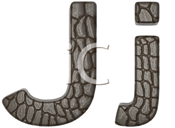 Royalty Free Clipart Image of Alligator Skin Font J Lowercase and Capital Letters